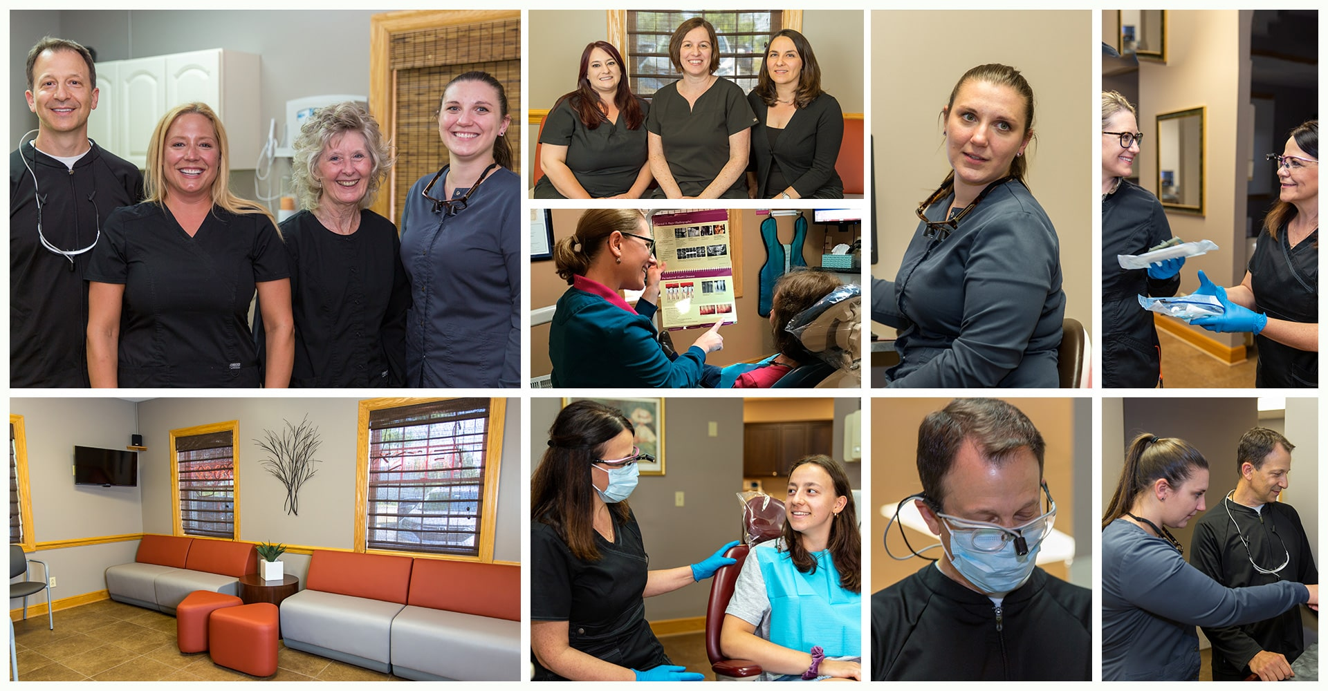 A collage showing Dr Berardi and Dr Hetterich working with their expert team